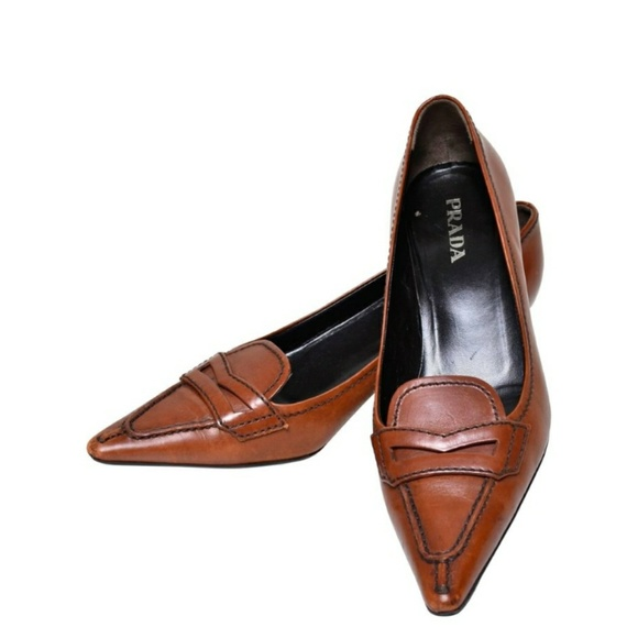 Buy Prada Brown Leather Pointed Toe Kitten Heel Pumps Size